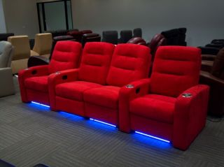 Seatcraft Buccaneer Red Row of 4 Seats Home Theater Seating Chairs Love Seat