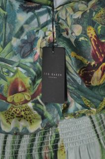 Ted Baker London Gathered Neck Orchideen 100 Silk Maxi Dress UK 2 US 6 $468