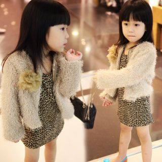 Trendy Girls Faux Fur Flannel Rose Bud Coat Leopard Print Dress Skirt Kids Set