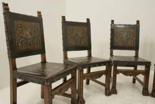 6 Antique Spanish Carved Walnut Dining Chairs with Original Leather Seats Backs