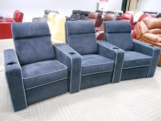 Seatcraft Lorenzo Home Theater Seating Row of 3 Black Manual Recline