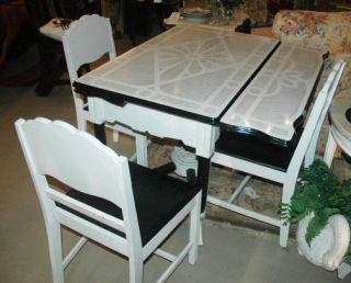 Art Deco Dining or Kitchen Table with 4 Chairs Metal Top Wood Base