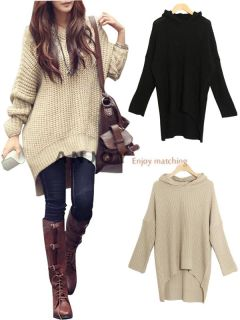 New Korean Style Fashion Outerwear Women Loose Long Irregular Hem Hooded Sweater