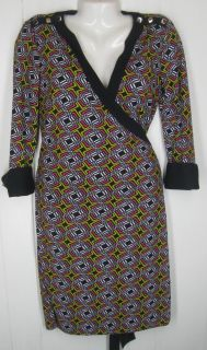 Worth Black Pink Print Wrap Dress Size 4 S