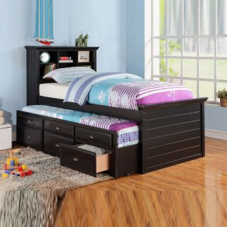 Cottage Youth Kids Bookcase Headboard Black Cherry Wood Twin Bed Trundle Drawer