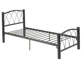 Contemporary Youth Kids Black Durable Metal Twin Full Slats Bed New
