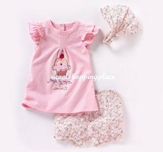 3pcs Kid Baby Girl T Shirt Top Pants Headband Outfit Clothes Pink Cake 0 36M