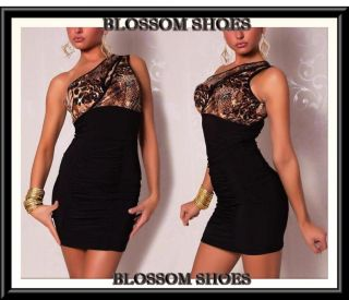 Sexy Black One Shoulder Leopard Dance Women Club Party Mini Dress Sz s M 8 10 12