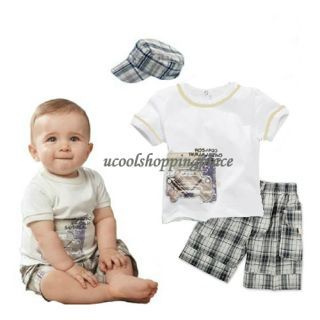 3pcs Kid Toddler Baby Boy T Shirt Hat Top Pants Shorts Outfit Clothes Set Plaid