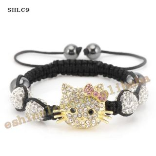 Hello Kitty Crystal Disco Ball Bracelet Adjustable Kids Cartoon Rhinestone Bling