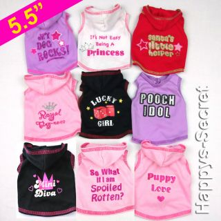 Small Dog Puppy Rabbit Tee Vest Hoodie Clothes XXS