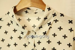 Vintage Black Beige Women Cross Print Top Blouse Shirt Stylish Causal Top