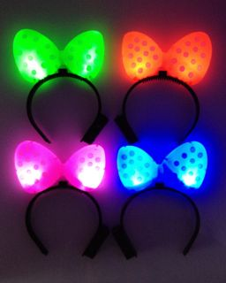 Red Pink Green Blue LED Light Up Women Girl's Headband Glow Bow Xmas Party Gift