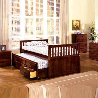 Mission Style Cherry Youth Kids Twin Captain Wood Storage Bed Trundle Drawers