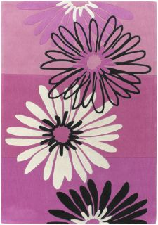 Kids Pink Black Area Rug Floral Flowers Bedroom Garden Decor Nursery Carpet