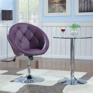 Contemporary Faux Leather Round Tufted White Black Purple Swivel Dining Chair
