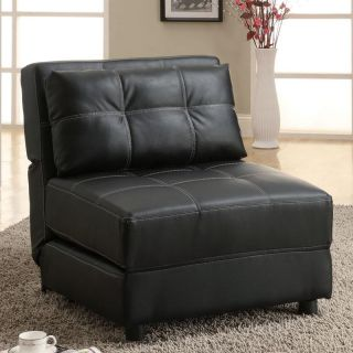 Black Faux Leather Contemporary Armless Accent Seating Lounge Chair Sofa Bed