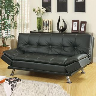 Contemporary Black Faux Leather Pillow Top Seating Futon Sleeper Sofa Bed Couch