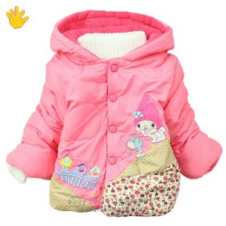 Kids Infants Toddler Girls Puffa Coat Pink Floral Fleece Hoodie Cotton Jacket 3