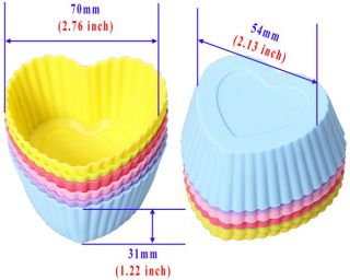 5 Shapes Silicone Cupcake Mould Bakeware Maker Muffin Mold Cake Pan Round Heart