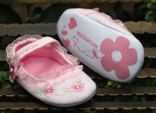 Baby Girl Pink Lace Trim Mary Jane Floral Embroidered Shoes Newborn to 12 Mons