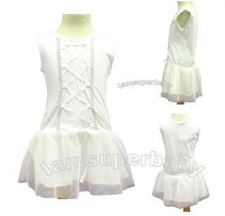 3 27m Sweet Baby Girl Pure White Colour Ballet Tutu Style One Piece Dress