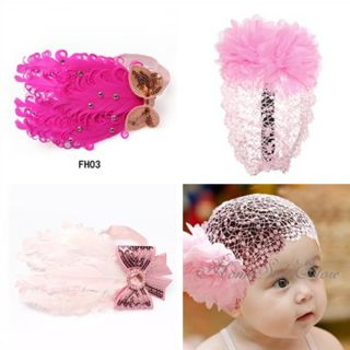 US 3Pcs Pink Baby Girl Toddler Lace Flower HeadBand Hair Band Headwear Bow Xmas