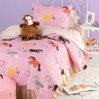 Twin Full Queen Pink Pony Horse Quilt Comforter Pillow Sham Cowgirl Country New