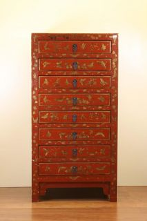 Chinese Beautiful Red 8 Drawers Cabinet Elegant Light Stand Jewelry Storage