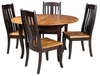Amish Round Dining Table Chairs Set Solid Wood Leg 2 Tone Modern Country Black