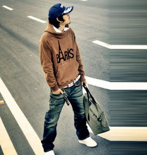 New Korea Fashion Mens Stylish Slim Hoodies Jacket Coat Cotton Two Color