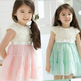 1pc Baby Girls Lace Flower Rose Party Dress Skirt Clothes Pink White 1 5 Years