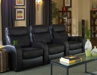 Seatcraft Rialto Home Theater Seating 3 Seats Black Leather Power Chairs