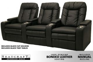 Seatcraft Bellagio 3 Seats Home Theater Seating Chairs Black Manual