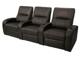 Seatcraft Vader Home Theater Seating 3 Chairs Black Manual Recliners
