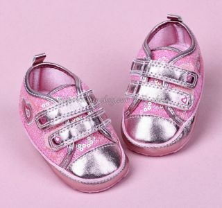 Pink Sequin Sparkly Toddler Baby Girl Walking Shoes Sneakers Size 12 18 Months