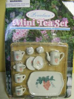 Mini Tea Set Toy Porcelain Grapes Doll Accessiores