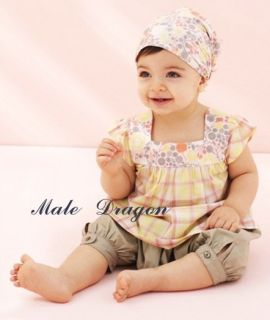 New Baby Girls 3 Pcs Kids T Shirt Short Pants Headband Set Clothes Size 0 3years