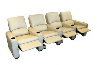 Eros Home Theater Seating 4 Cream Seats Push Back Recliner Chairs