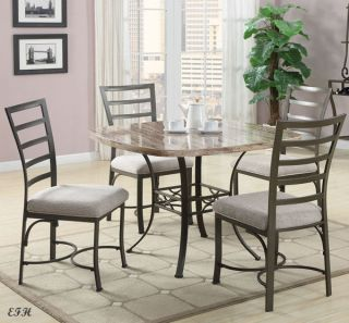 New 5pc Valencia White Black Faux Marble Square Top Gray Metal Dining Table Set