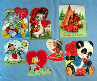 Vintage Greeting Valentines Day Cards Lot of 7 1940s 1950s Childrens