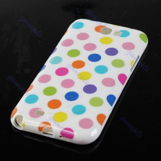 Cute Polka Dots Soft TPU Gel Case Cover Skin for Samsung Galaxy Note 2 II N7100