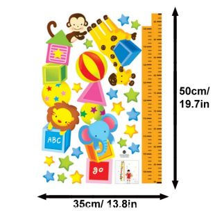 Cartoon Lion Elephant Animal Growth Chart Ruler Wall Sticker Decal