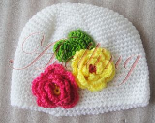 Baby Girl Toddler Cute Handmade Flower Knit Crochet Beanie Hat Cap Headband Gift