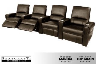 Seatcraft Pallas Row of 4 Seats Home Theater Seating Chairs Brown