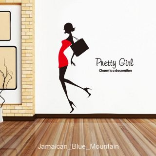 Pretty Girl Fashion Silhouette Removable Wall Sticker Decal