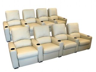 Eros Home Theater Seating 8 Cream Seats Push Back Recliner Chairs