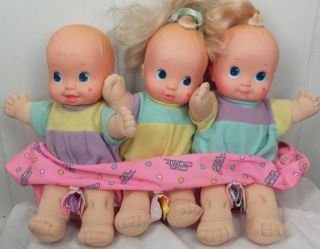 Magic Nursery Baby Doll Triplets Newborn Mattel 1990 w Carrier