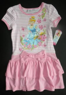 Disney Girls Rapunzel Aurora or Cinderella Short Sleeve Dress 2T 4