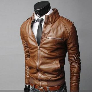 Men's Cool Slim Fit Tops Designed Sexy PU Leather Short Biker Jackets Coats Hot